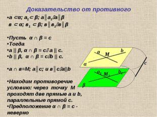 Доказательство от противного α β а b М b1 а1 М1 с а α; а1 β; а║а1а║β в  α
