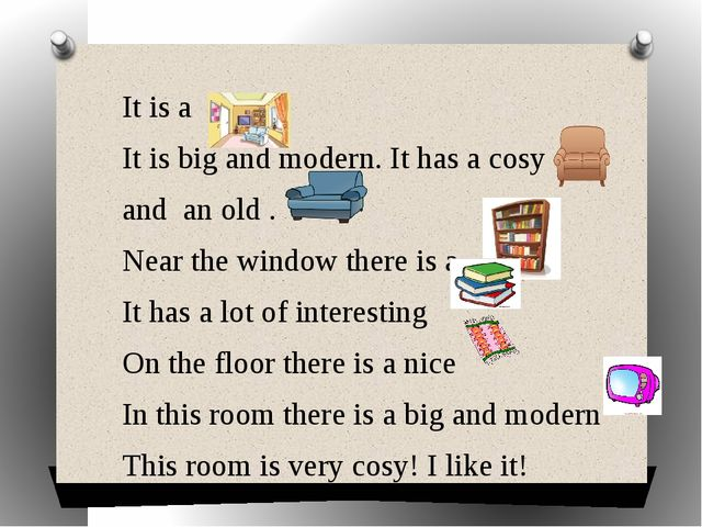 It is a It is big and modern. It has a cosy and an old . Near the window ther...