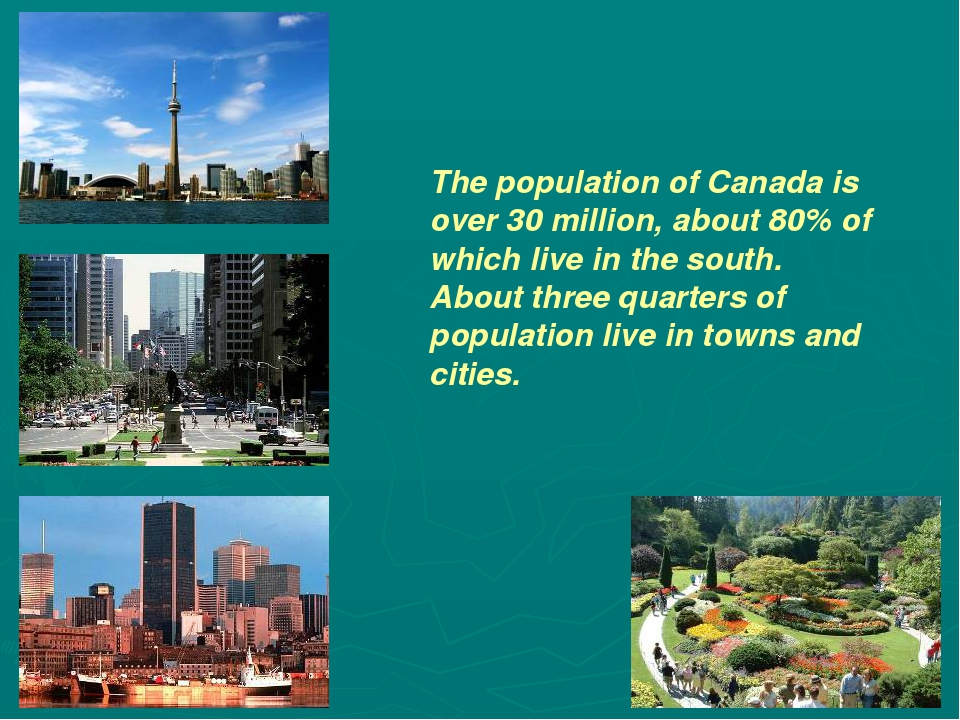 The population of Canada is over 30 million, about 80% of which live in the s...