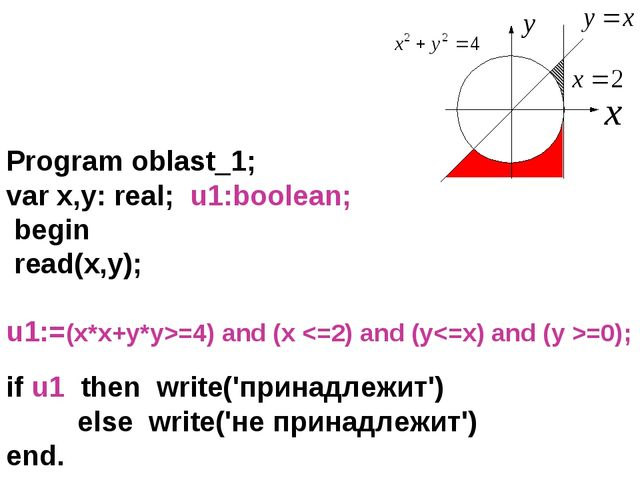 Program oblast_1; var x,y: real; u1:boolean; begin read(x,y); u1:=(x*x+y*y>=4...