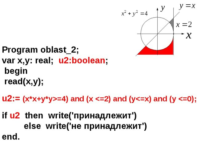 Program oblast_2; var x,y: real; u2:boolean; begin read(x,y); u2:= (x*x+y*y>=...