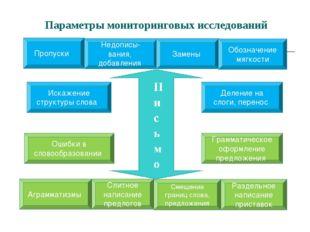 Параметры мониторинговых исследований Пропуски Недописы- вания, добавления За