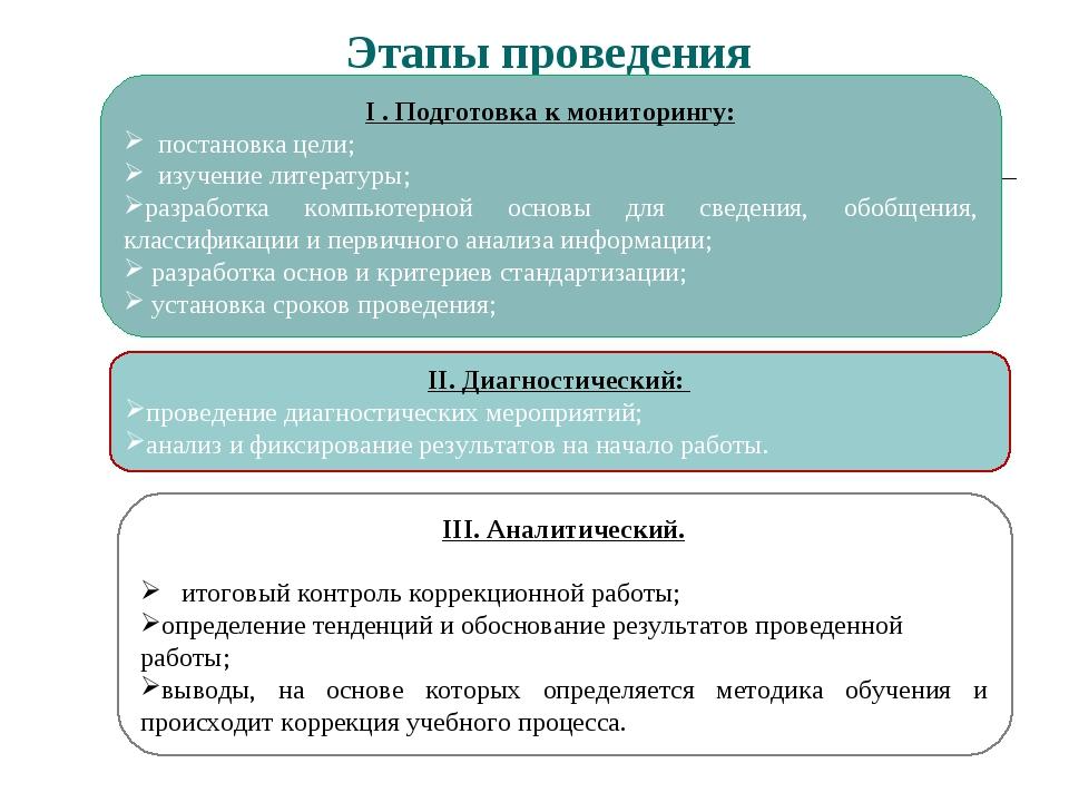 Этапы проведения II. Диагностический: проведение диагностических мероприятий...