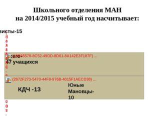 Школьного отделения МАН на 2014/2015 учебный год насчитывает: КДЧ -13 Юные Ма