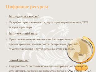Цифровые ресурсы http://geo-tur.narod.ru/ География стран и континентов, карт