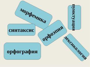 морфемика пунктуация лексикология орфография синтаксис орфоэпия