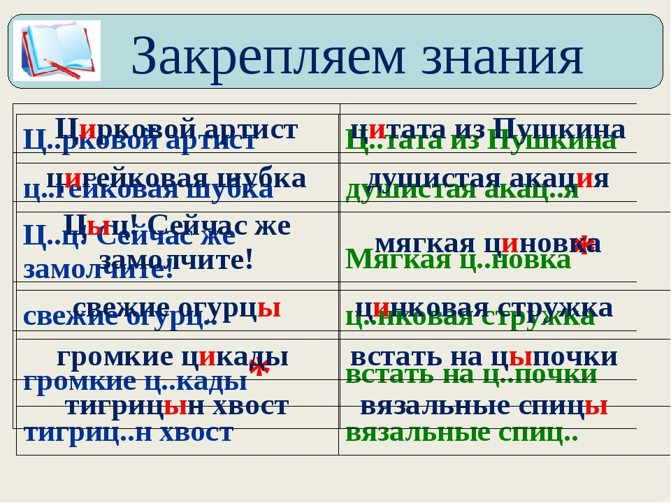 Закрепляем знания Ц..рковой артистЦ..тата из Пушкина ц..гейковая шубкадуши...