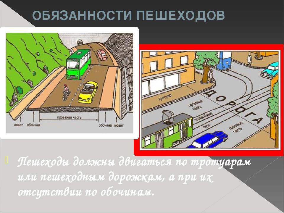 ОБЯЗАННОСТИ ПЕШЕХОДОВ Пешеходы должны двигаться по тротуарам или пешеходным д...