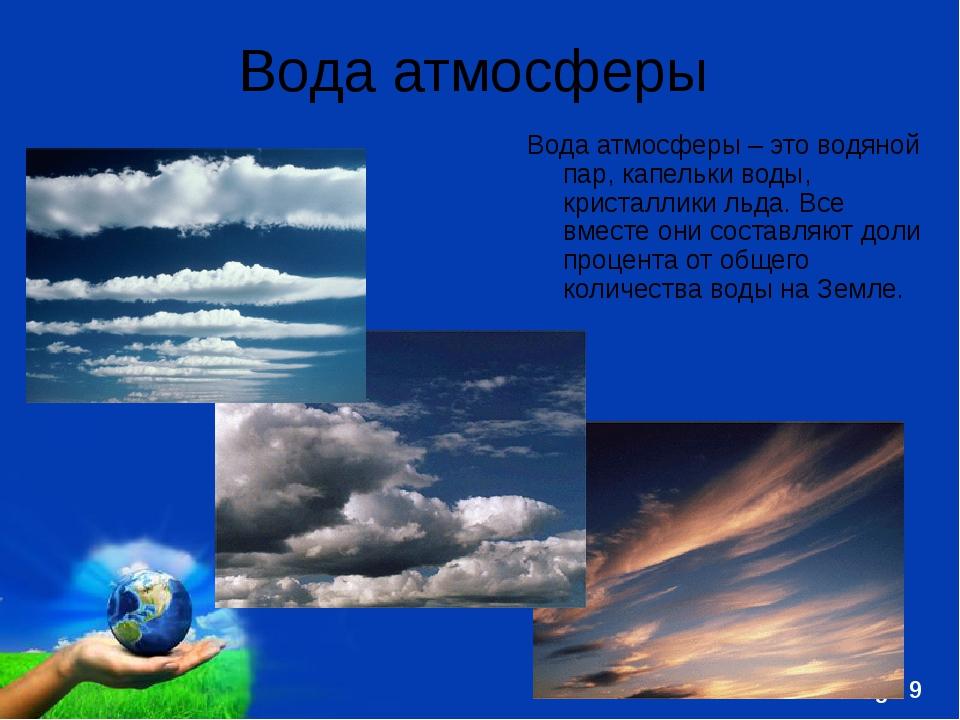 Вода атмосферы Вода атмосферы – это водяной пар, капельки воды, кристаллики л...