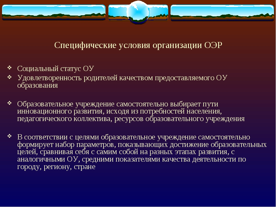 Специфические условия организации ОЭР Социальный статус ОУ Удовлетворенность...