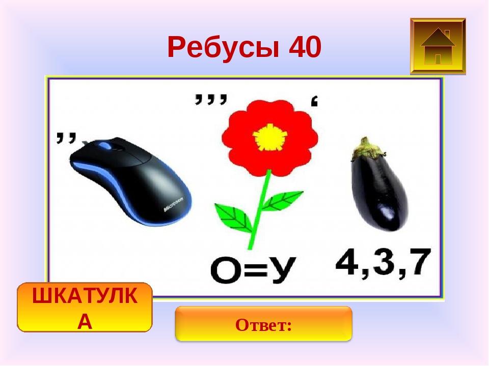 Ребусы 40 ШКАТУЛКА