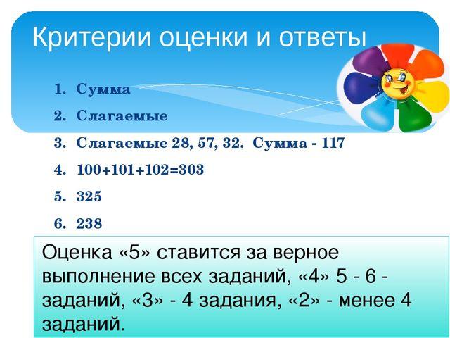 1.Сумма 2.Слагаемые 3.Слагаемые 28, 57, 32. Сумма - 117 4.100+101+102=303...