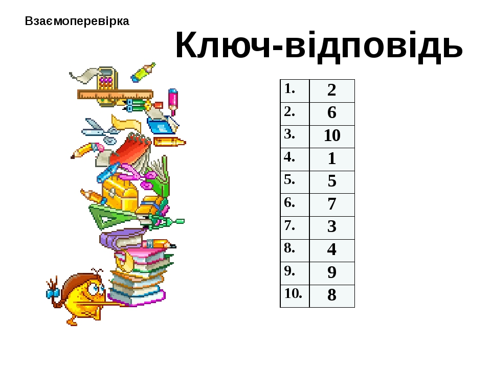 Ключ-відповідь Взаємоперевірка 1. 2 2. 6 3. 10 4. 1 5. 5 6. 7 7. 3 8. 4 9. 9...