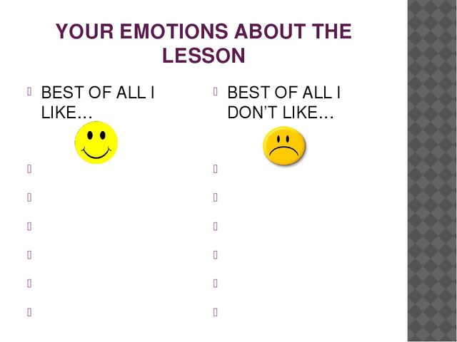 YOUR EMOTIONS ABOUT THE LESSON BEST OF ALL I LIKE… BEST OF ALL I DON'T LIKE…