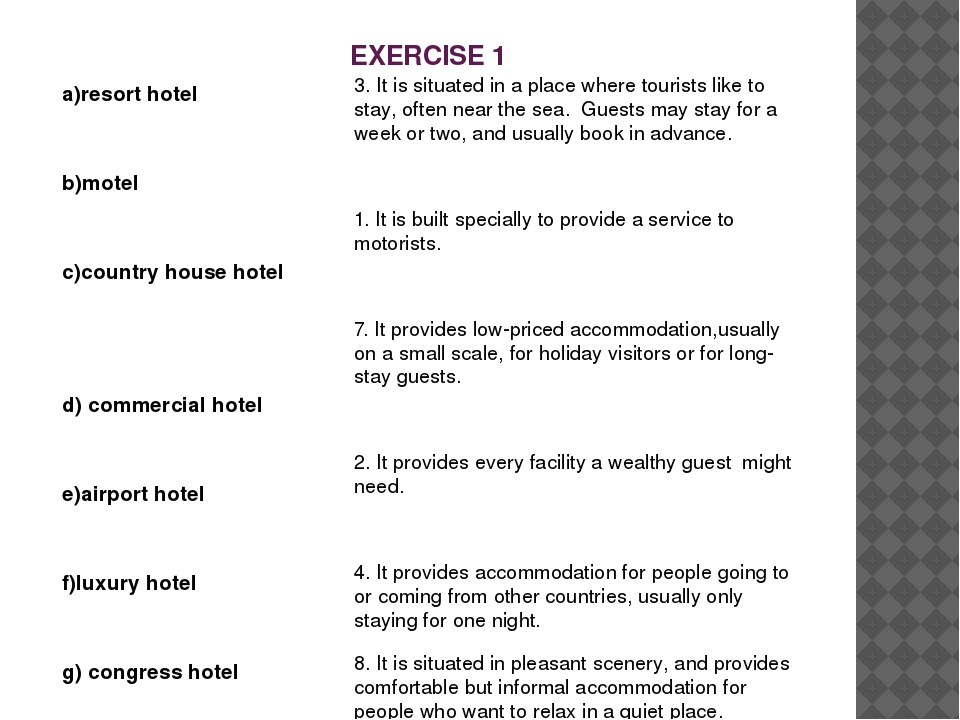 EXERCISE 1 a)resort hotel b)motel c)country house hotel d) commercial hotel e...