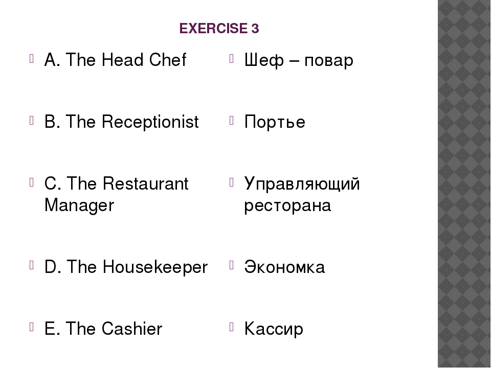 EXERCISE 3 A. The Head Chef B. The Receptionist C. The Restaurant Manager D....