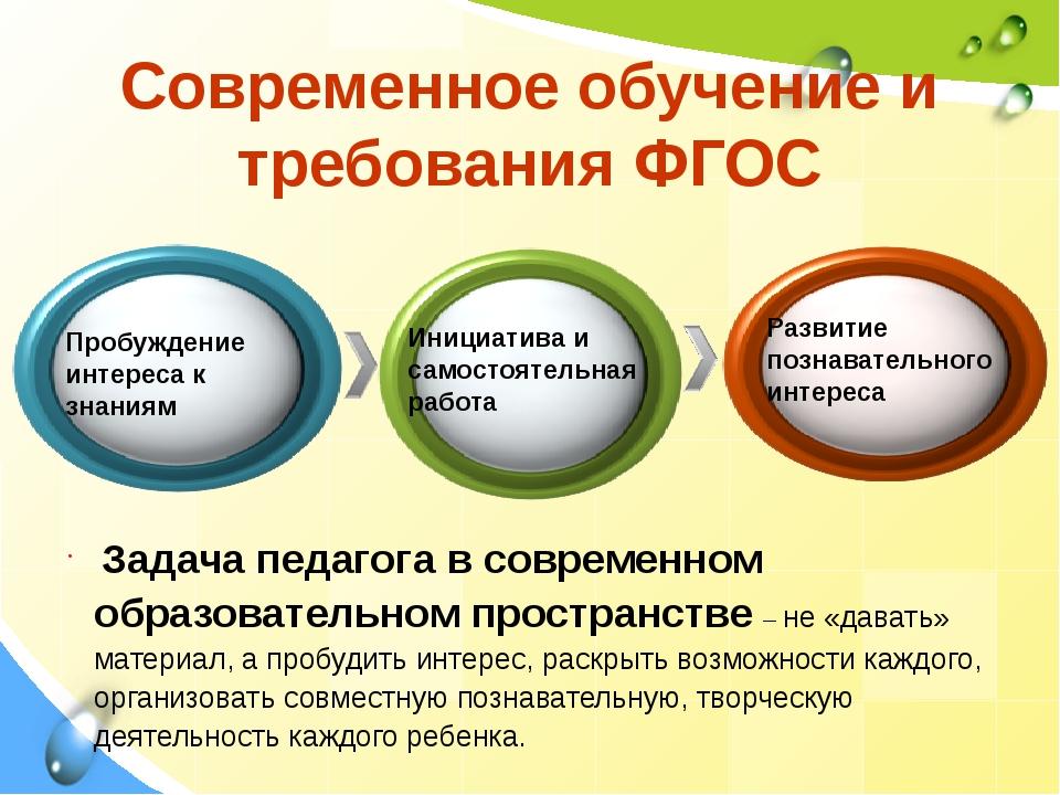 Современное обучение и требования ФГОС Пробуждение интереса к знаниям Инициат...