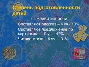 Степень подготовленности детей Развитие речи Составляют рассказ – 4 уч.- 19%