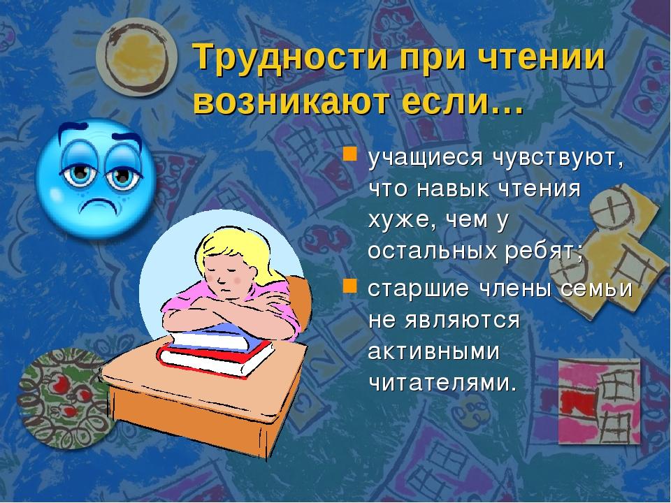 Трудности при чтении возникают если… учащиеся чувствуют, что навык чтения хуж...