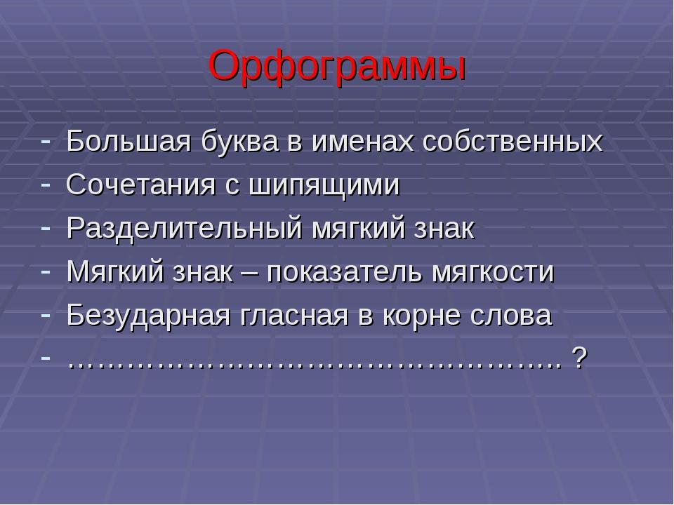 Орфограммы Большая буква в именах собственных Сочетания с шипящими Разделител...