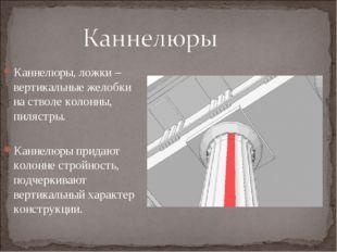 Каннелюры, ложки – вертикальные желобки на стволе колонны, пилястры. Каннелюр