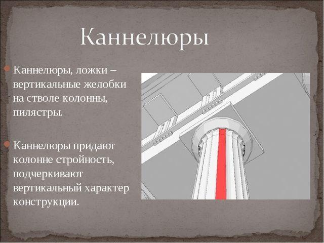 Каннелюры, ложки – вертикальные желобки на стволе колонны, пилястры. Каннелюр...
