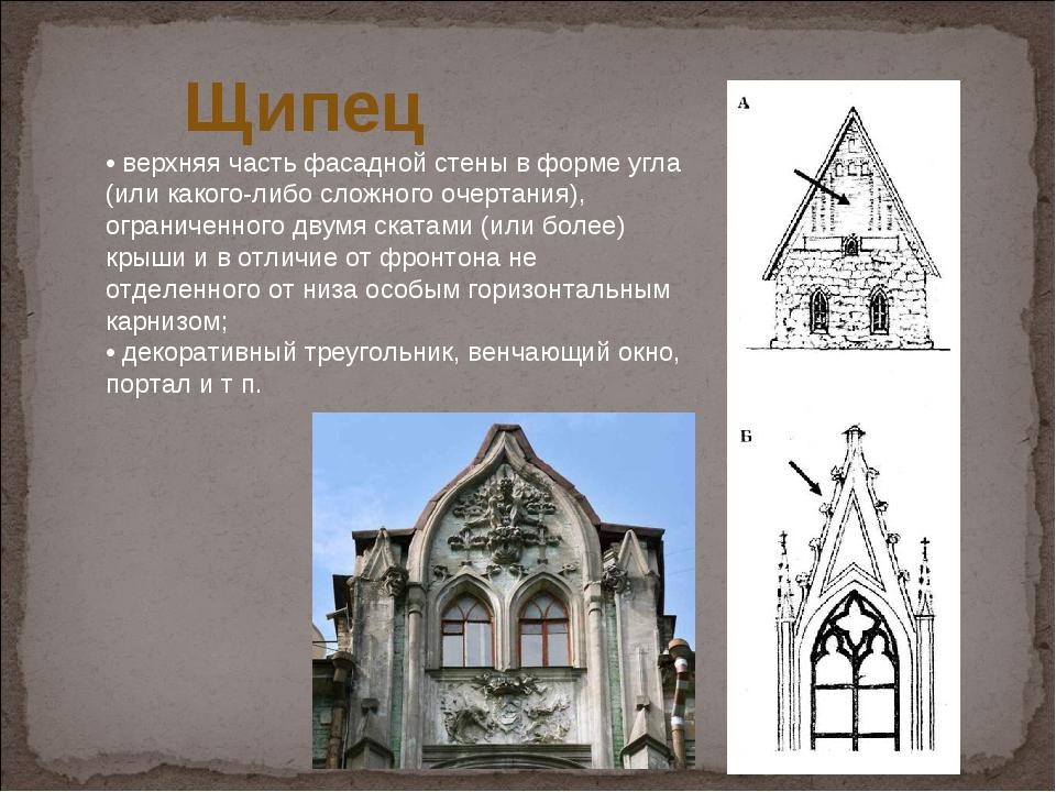 Щипец •верхняя часть фасадной стены в форме угла (или какого-либо сложного...