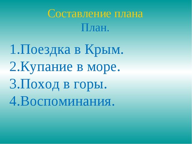 Составление плана План. Поездка в Крым. Купание в море. Поход в горы. Воспоми...