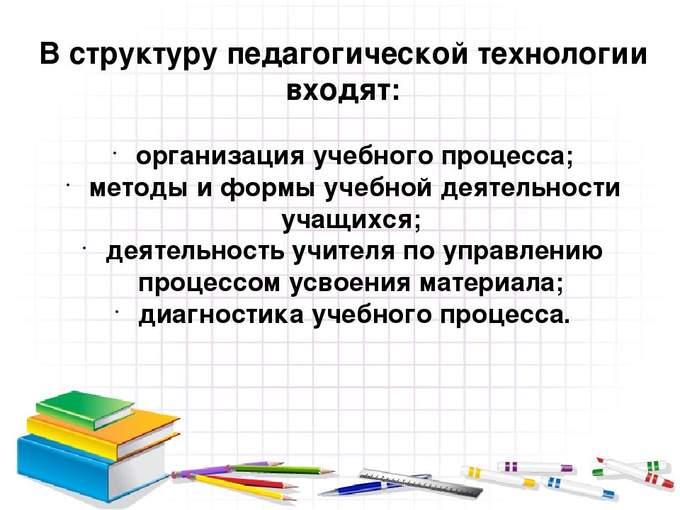В структуру педагогической технологии входят: организация учебного процесса;...