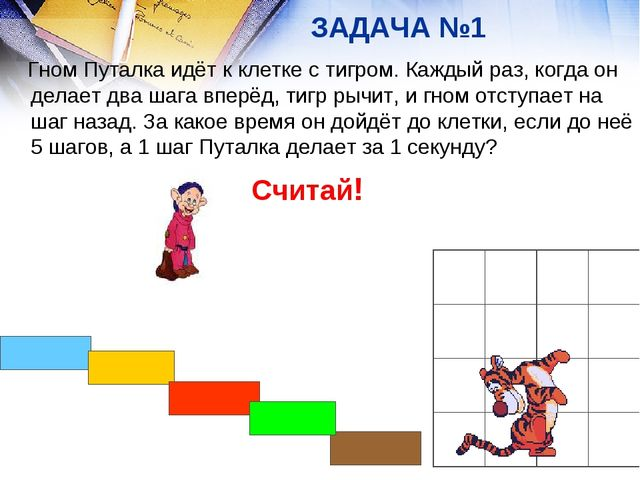 ЗАДАЧА №1 Гном Путалка идёт к клетке с тигром. Каждый раз, когда он делает дв...