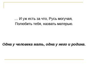 … И уж есть за что, Русь могучая, Полюбить тебя, назвать матерью. Одна у чел