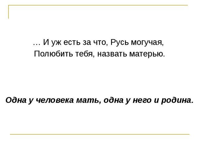 … И уж есть за что, Русь могучая, Полюбить тебя, назвать матерью. Одна у чел...