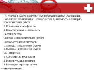 ПЛАН ОТЧЕТА  IV. Участие в работе общественных профессиональных Ассоциаций.