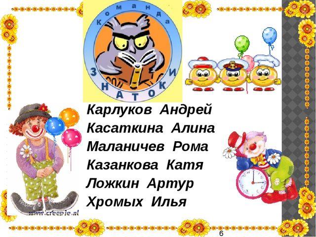 Карлуков Андрей Касаткина Алина Маланичев Рома Казанкова Катя Ложкин Артур Х...