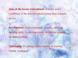 Aims of the lesson: Educational: to revise active vocabulary of the unit and