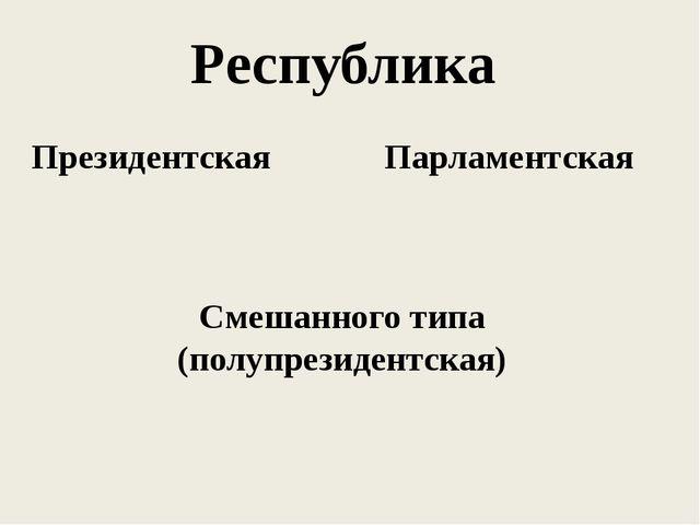 Республика Президентская Парламентская Смешанного типа (полупрезидентская)