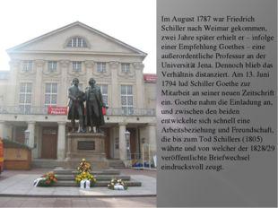 Im August 1787 war Friedrich Schiller nach Weimar gekommen, zwei Jahre späte