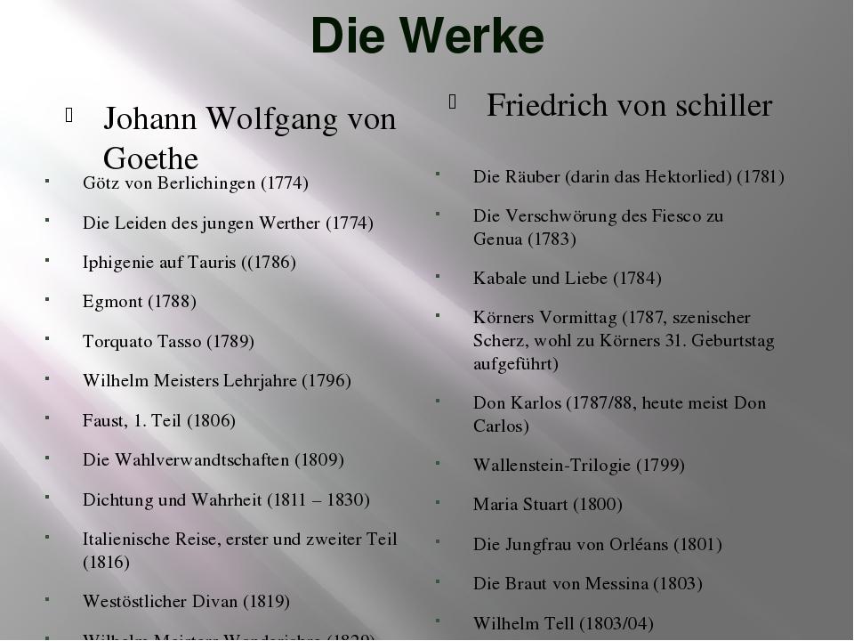 Die Werke Johann Wolfgang von Goethe Friedrich von schiller Götz von Berlichi...