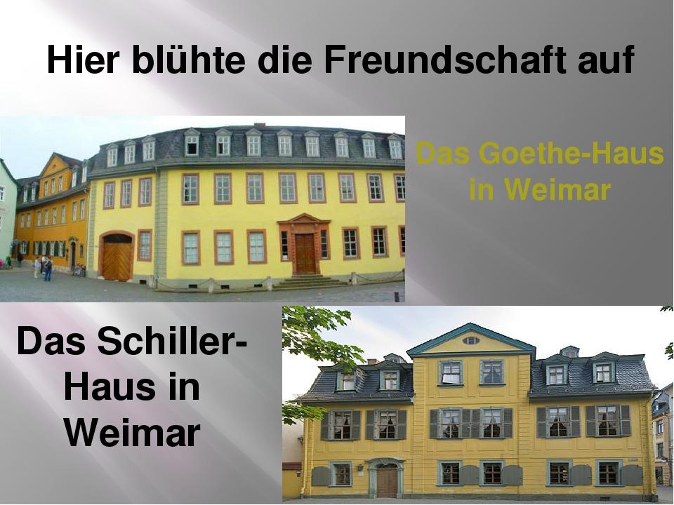 Das Goethe-Haus in Weimar Das Schiller-Haus in Weimar Hier blühte die Freunds...