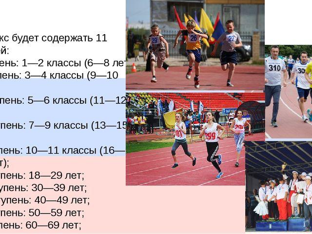 Комплекс будет содержать 11 ступеней: I ступень: 1—2 классы (6—8 лет); II сту...