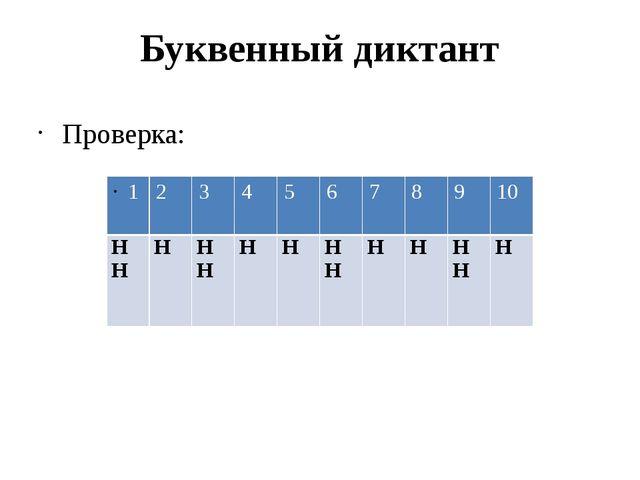 Буквенный диктант Проверка: 1 2 3 4 5 6 7 8 9 10 НН Н НН Н Н НН Н Н НН Н