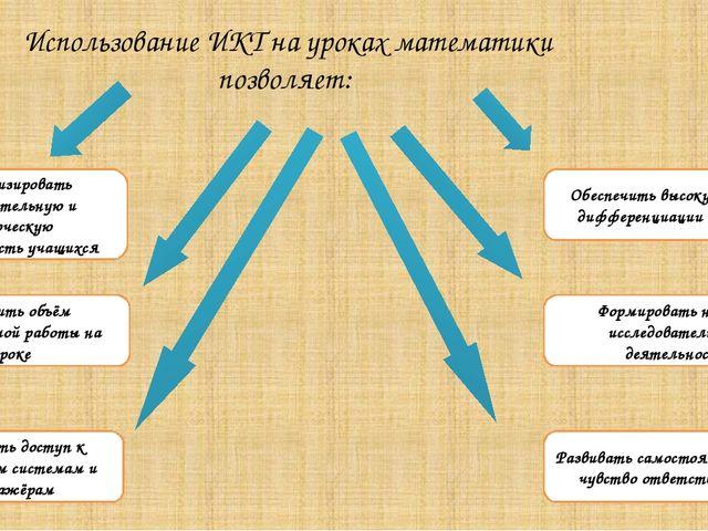Использование ИКТ на уроках математики позволяет: Активизировать познавательн...
