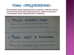 Составление схемы предложения по картине; деление слов на слоги (части);печа