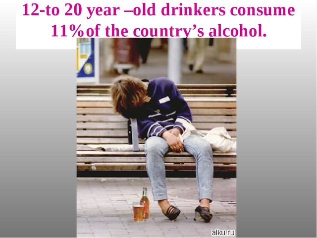 12-to 20 year –old drinkers consume 11%of the country's alcohol.
