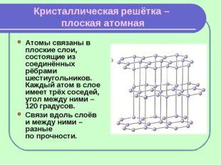 Кристаллическая решётка – плоская атомная Атомы связаны в плоские слои, состо