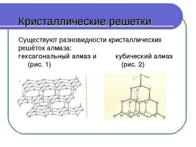 Кристаллические решетки Существуют разновидности кристаллических решёток алм...