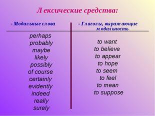 Лексические средства: - Модальные слова - Глаголы, выражающие модальность to