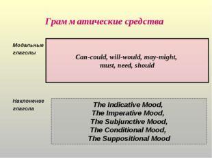 Грамматические средства Модальные глаголы Наклонение глагола The Indicative