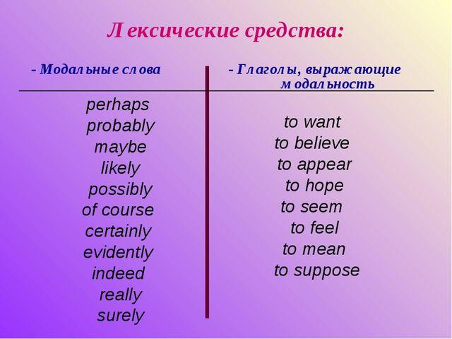 Лексические средства: - Модальные слова - Глаголы, выражающие модальность to...