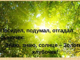 Посидел, подумал, отгадал сыночек: Знаю, знаю, солнце – Золотой клубочек!